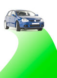 Car with green road. Car on a green road Stock Photos