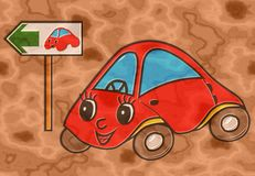 Car on green way relief painting on generated marble texture bac Stock Photography