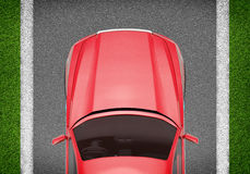 Car on grey and green texture background Stock Images