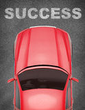 Car on grey texture background with word Royalty Free Stock Images