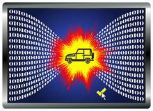 Car Hacking. Vehicles can be manipulated and crash by hacking the computer system Stock Images