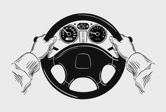 Car. Hand drawn sketch driving vector illustration Royalty Free Stock Images