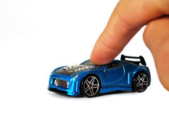 Car and hand isolated Royalty Free Stock Photography