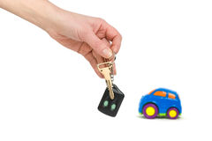 Car and hand with keys Stock Photography