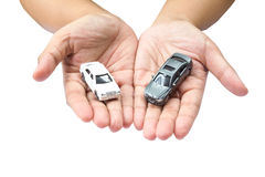 Car on hand meaning for assurance protection cover. Background Stock Image