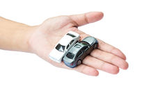 Car on hand meaning for assurance protection cover. Background Stock Photo