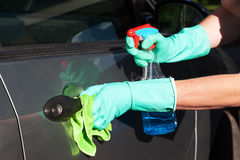 Car handle cleaning Stock Image