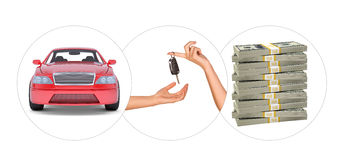 Car with hands and bundle of money Stock Photos
