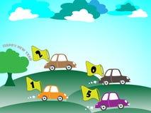 Car happy new year cartoon. EPS 10 Vector Royalty Free Stock Image