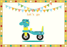Car haul child classic color on kid card backgrounds,Vector illustrations Royalty Free Stock Photography