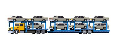 Car hauler with trailer. Minimalistic icon of loaded car carrier truck front side view. Car hauler with trailer vehicle. Modern vector isolated illustration vector illustration