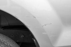 Car have scratched with deep damage to the paint,car accident on Royalty Free Stock Photos