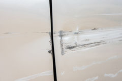 Car have scratched with deep damage to the paint,car accident on Stock Image