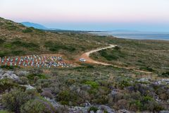 Car heading to Gerogompos Lighthouse, Kefalonia, Greece royalty free stock images