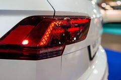 Car headlight with backlight. Exterior detail.White color car stock image