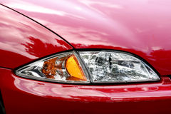 Car headlight close-up. Detailed front section of an automobile headlight Royalty Free Stock Photo