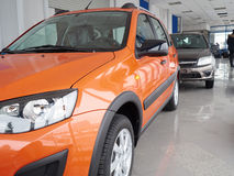 Car headlight and hood of powerful car  orange Stock Images