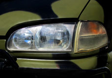 Car Headlight. Part of the car with front lamp Stock Photo