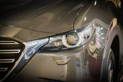 Car headlight with shallow depth of field stock photo