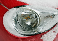 Car headlights covered with snow Royalty Free Stock Photos