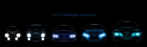 Free Car Headlights Evolution, Glowing Front Headlamps Stock Photography - 154672992