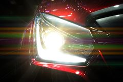Car headlights. Exterior detail. Car luxury concept Royalty Free Stock Photo