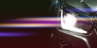 Car headlights. Exterior detail. Car luxury concept stock photos