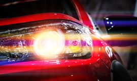 Car headlights. Exterior detail. Car luxury concept Royalty Free Stock Photos