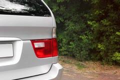 Car headlights. Luxury Headlights. Gray royalty free stock photography