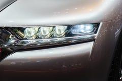 Car Headlights. Headlights of car, Motor Show Geneve 2015 stock photo