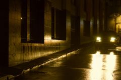 Night - Wet Night in the City stock photography