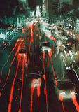 Car headlights and taillights on a city street at night. Painting of car headlights and taillights on a city street at night Stock Image