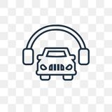 Car and headphones vector icon isolated on transparent backgroun vector illustration