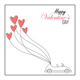 Car with heart balloons valentines day card Stock Photography