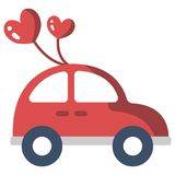 Just Married Car flat illustration royalty free illustration