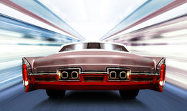 Car on high-speed road. Car on luminous high-speed road of night city Stock Image