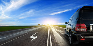 Car on Highway. Car traveling on highway Royalty Free Stock Images