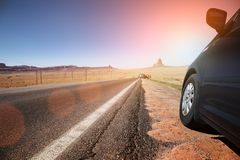Car on highway royalty free stock photography