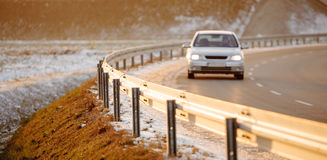 The car on highway. Car driving on empty road, Poland, Europe Stock Image