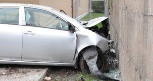 Car hit a concrete wall