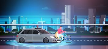 Car Hit Man On Bike On Road Over City Background Crash Accident. Vector Illustration Stock Photos