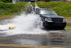 Car Hits Watery Fire Hydrant.. Stock Photography