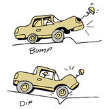 Car Hitting Bump and Pothole in Road. An image of a car hitting a bump and dip in the road stock illustration
