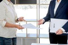 Car and Home for rent concept, broker agent presenting and consult to customer to decision making sign form agreement, home and c stock photo