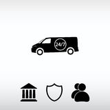 Car 24 hours,  delivery 24 hours icon. Web icon for the site, in a flat style Royalty Free Stock Image