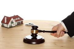 Car and house and gavel Stock Photos
