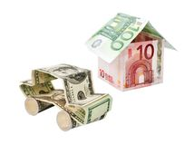 Car and house made of dollar banknotes Royalty Free Stock Photos