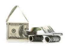 Car and  house made of Dollars Royalty Free Stock Photography