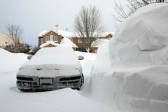 Car Beside Huge Pile of Snow Stock Photos