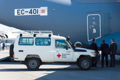 A car with the humanitarian aid of the German Red Cross Stock Photo